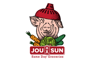 Jou Sun Logo, Same day groceries, with a pig, pork, and vegetables