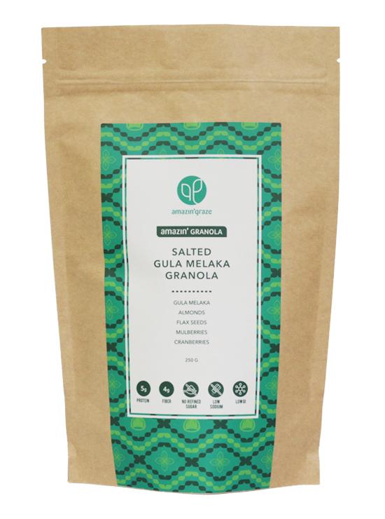 Salted Gula Melaka Granola Packaging 250g on white background