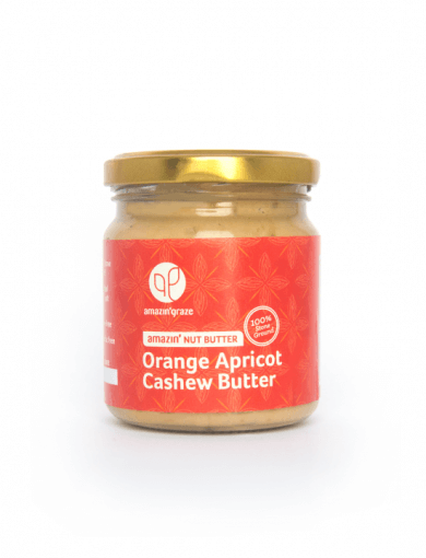 100% stone ground Orange Apricot Cashew Amazin'Nut Butter with a red label