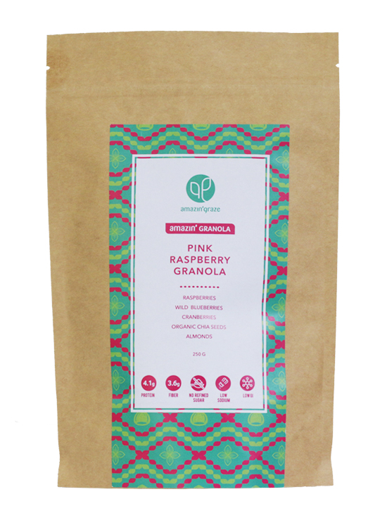 Pink Raspberry Granola Packaging 250g on white background
