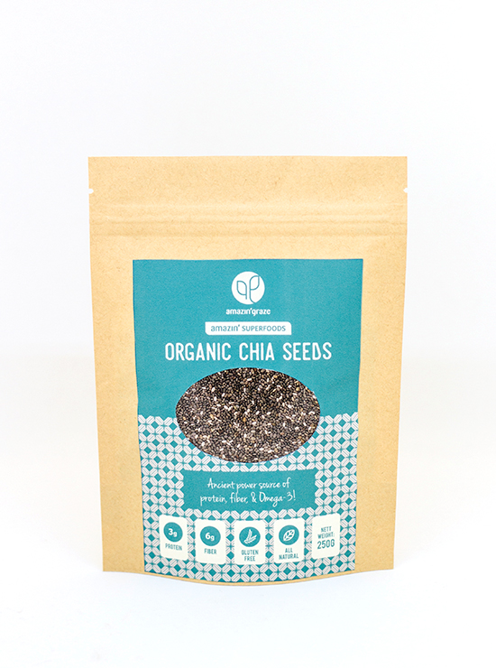 A packet of Amazin' Graze's organic chia seeds