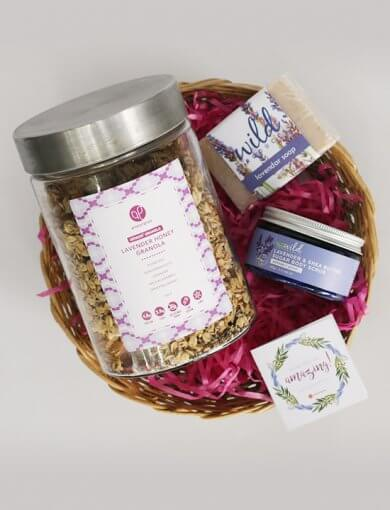 Amazin' Graze Mother's Day gift set with Lavender Honey Granola in a glass gift jar, and Wild Products' Lavender & Shea Butter Sugar Body Scrub and Lavender Soap