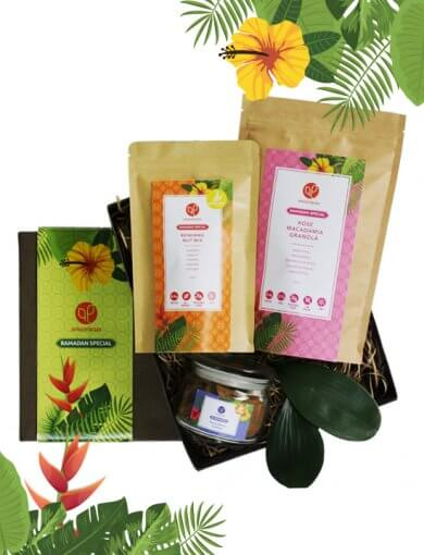 Gift Box: Joyful Tradition containing Rose Macadamia Granola, Rendang Spice Nut Mix, and Pulut Hitam Cookies