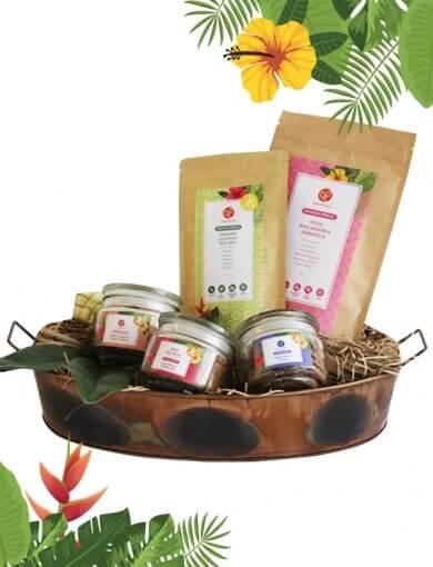 Ramadan healthy snacks gift basket containing Rose Macadamia Granola, Pandan Coconut Nut Mix, Pulut Hitam Cookies, Chili Glazed Peanuts & Tempeh, and Gingerflower Shortbread