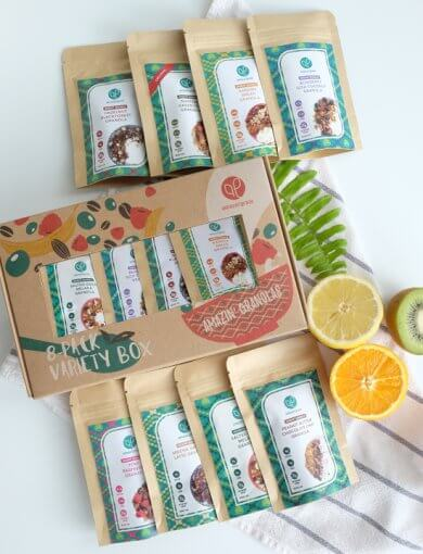 Amazin' Granola variety box containing 8 different flavours of granola in snack pack sizes