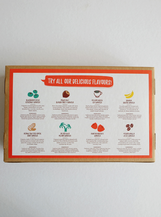 Back view of Amazin' Variety Box with list of flavours, descriptions, and ingredients
