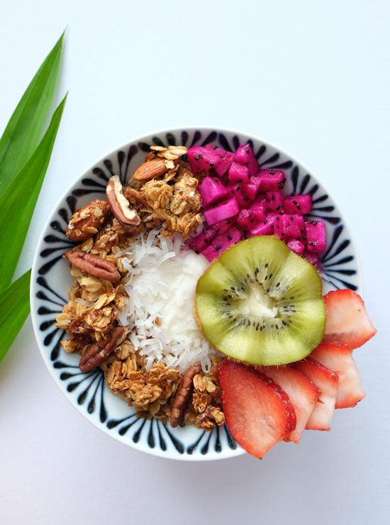 Bowl of Coconut Kaya Granola with fresh fruit