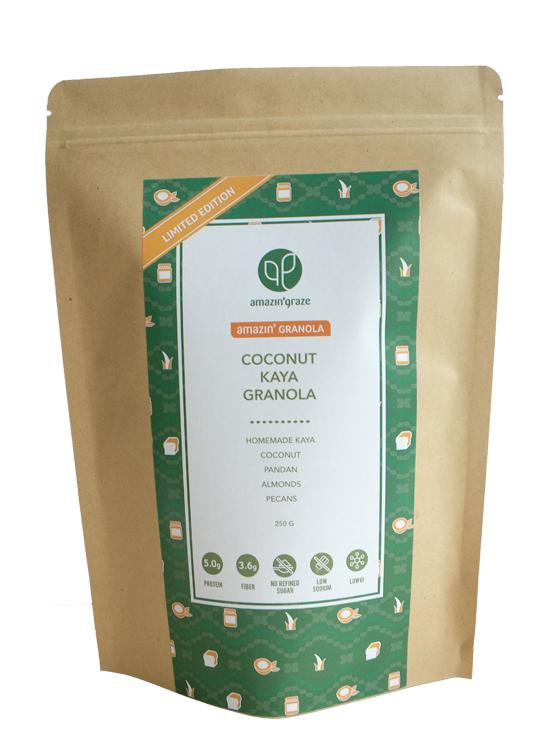 Kraft packaging of Coconut Kaya Granola for Malaysia & Hong Kong