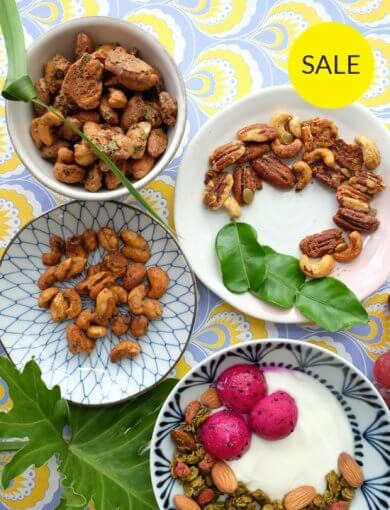 Asian Inspiration - Bowls of Amazin' products in Asian Inspirations bundle - Pandan Coconut Nut Mix, Coconut Curry Lime Nut Mix, Tom Yum Nut Mix, and Matcha Green Tea Granola
