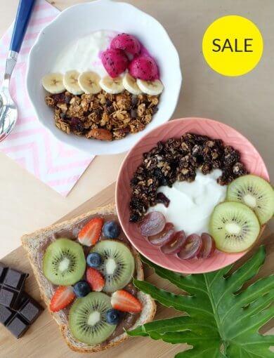 Health by Chocolate - top shot of all the Amazin' products in Health by Chocolate bundle - Chocolate Coconut Hazelnut Butter, Hazelnut Blackforest Granola, and Mocha Latte Vanilla Granola